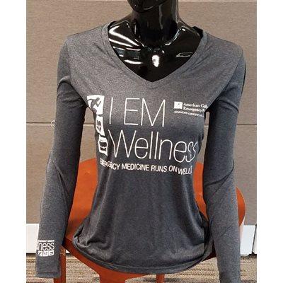 "Ladies ""Wellness"" V-Neck Long Sleeve T-Shirt - LARGE"