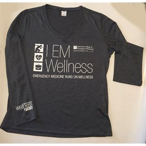 "Ladies ""Wellness"" V-Neck Long Sleeve T-Shirt - MEDIUM"